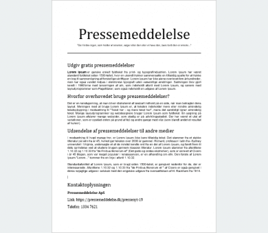Eksempel paa pressemeddelelse Basis