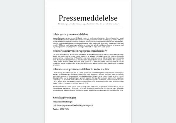 Eksempel på Basis pressemeddelelse - Gratis udgivelse